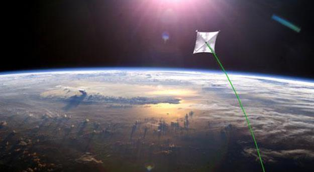 (Interstellar kite accelerated by solar radiation). The characteristic of the solar kite is that it is powered by a large solar sail and receives extra power from solar radiation.